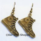 ♥ Handmade Brass Converse Sneaker Star Drop Earrings♥