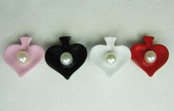 Kitsch Emo Heart Shape Pearl Stud Earrings