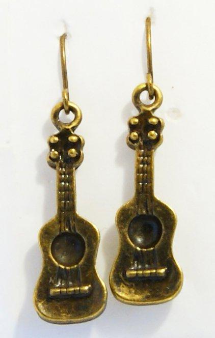 � Handmade Brass Vintage Guitar Music Rock Earrings�