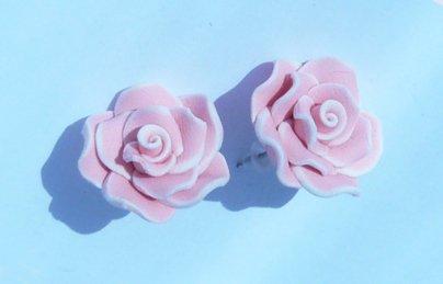 Denim Rose Flower Stud Earrings