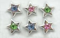 Sparkling Silver Star Big Diamante Ear rings 2pairs