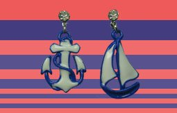 Vintage Sailboat 30's Style Diamante Drop Earrings