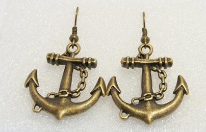 �Handmade Vintage Nautical Giant Anchor Drop Earrings�