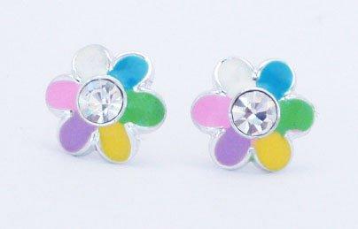 Pretty Rainbow Daisy Flower Crystal Stud Earrings