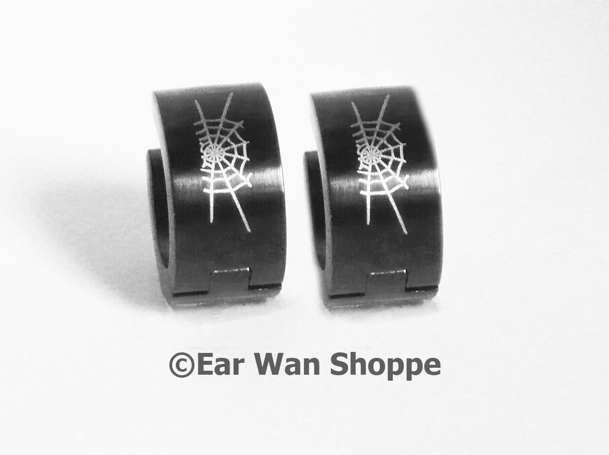 Gothic Black Spiderweb Huggie Hoop Earrings