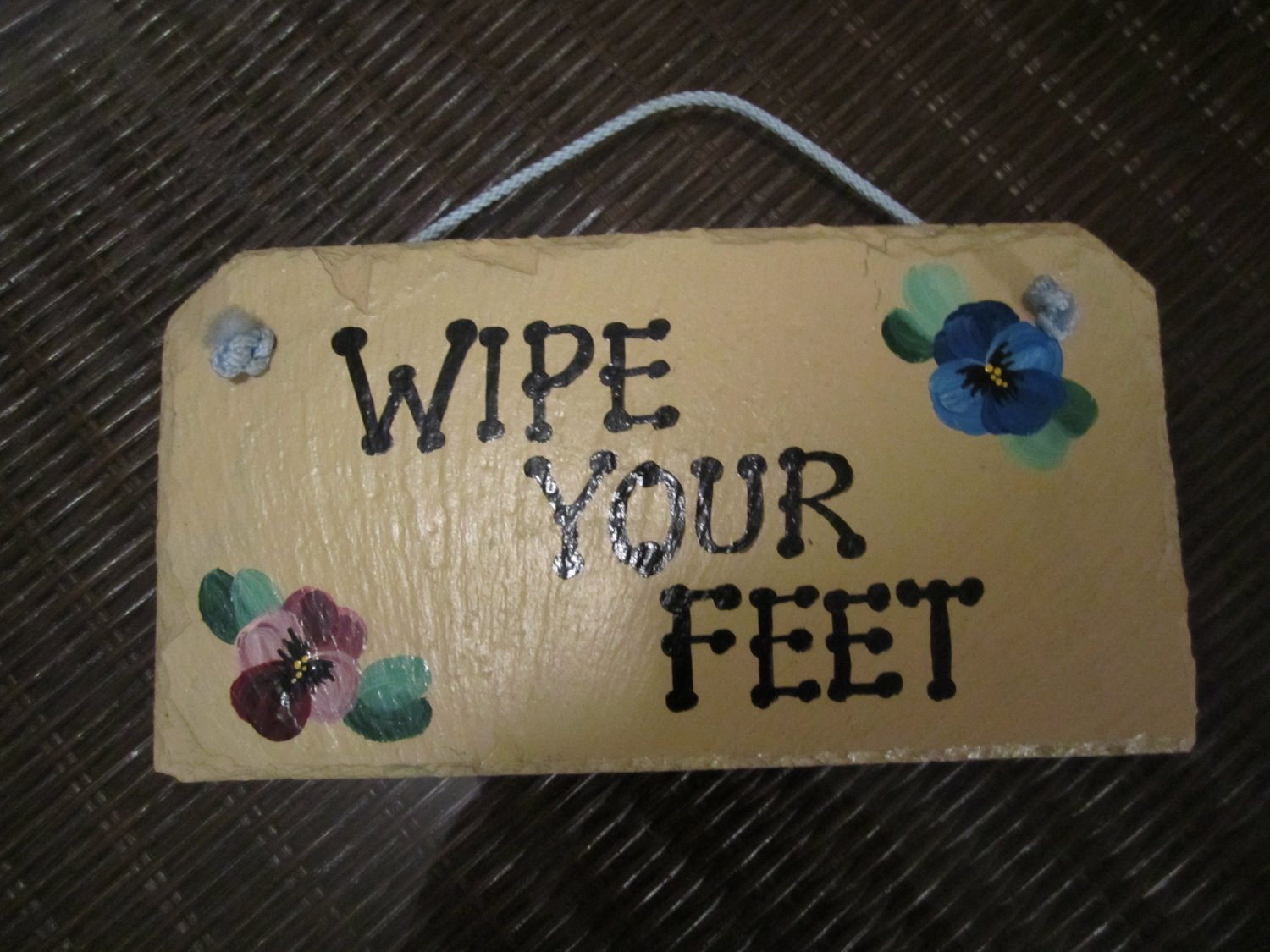 Decorative Metal Handpainted Sign~Wipe your Feet