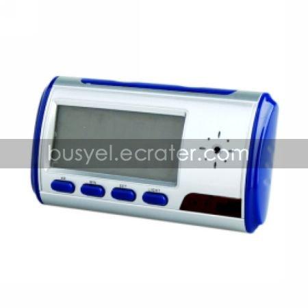 Digital Alarm Clock with Hidden Surveillance Camera (Blue)