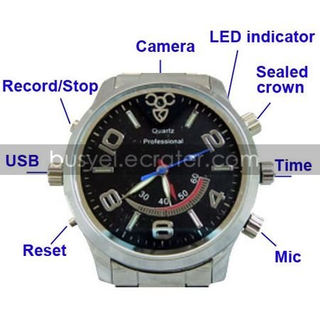 Motion-Activated Waterproof Spy Watch Cameras with Stainless Steel Casing Hidden Camera