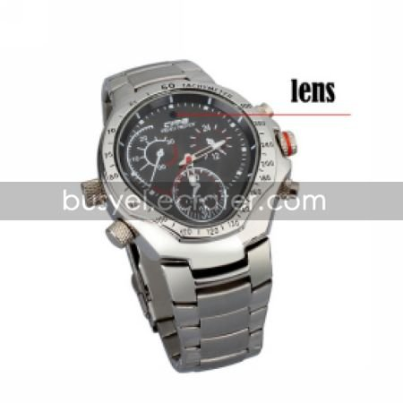 Stainless Steel Wristwatch with Hidden HD Camera