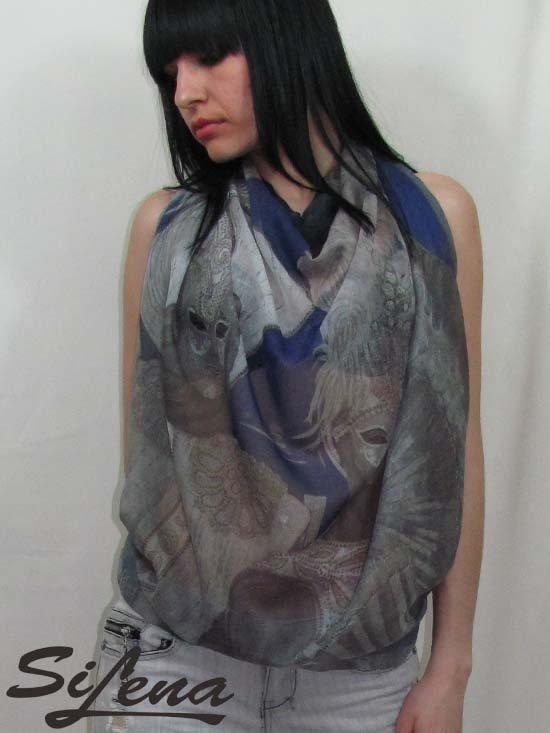 Scarf shawl original art print 125 x 93 cm SiLena FREE SHIPING WORLDWIDE