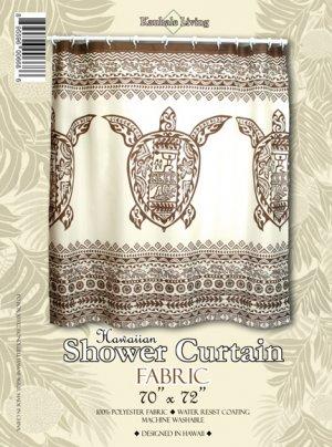 Hawaiian Tropical Fabric Shower Curtain ( Big Honu Turtle)