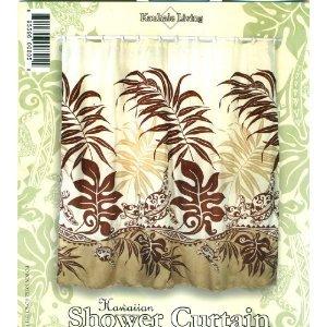 Hawaiian Tropical Fabric Shower Curtain (Turtle Under Seaweed)