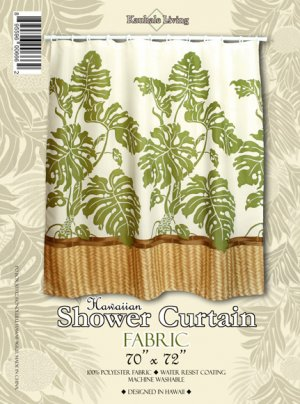 Hawaiian Tropical Fabric Shower Curtain (Monstera)