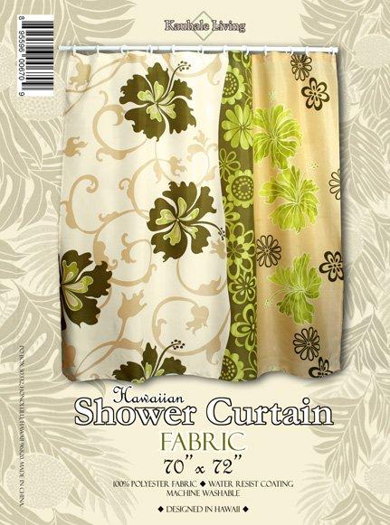 Hawaiian Tropical Fabric Shower Curtain (Comtemporary flower)