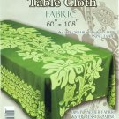 Hawaiian Tropical Fabric Tablecloth 60-inch By 108-inch (Honu Turtle and Monstera, Green color)