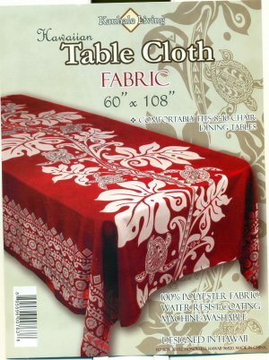Hawaiian Tropical Fabric Tablecloth 60-inch By 108-inch (Honu Turtle and Monstera, Red color)