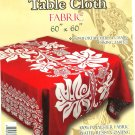 Hawaiian Tropical Fabric Tablecloth 60-inch By 60-inch (Honu Turtle and Monstera, Red color)
