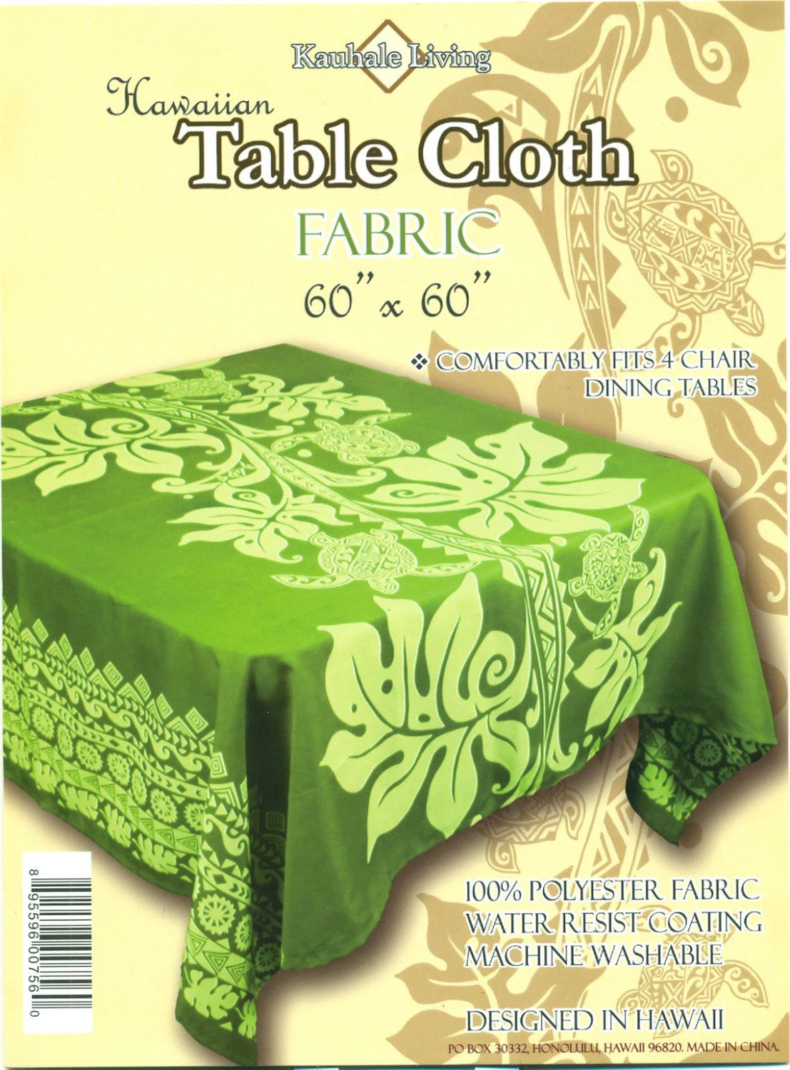 Hawaiian Tropical Fabric Tablecloth 60-inch By 60-inch (Honu Turtle and Monstera, Green color)