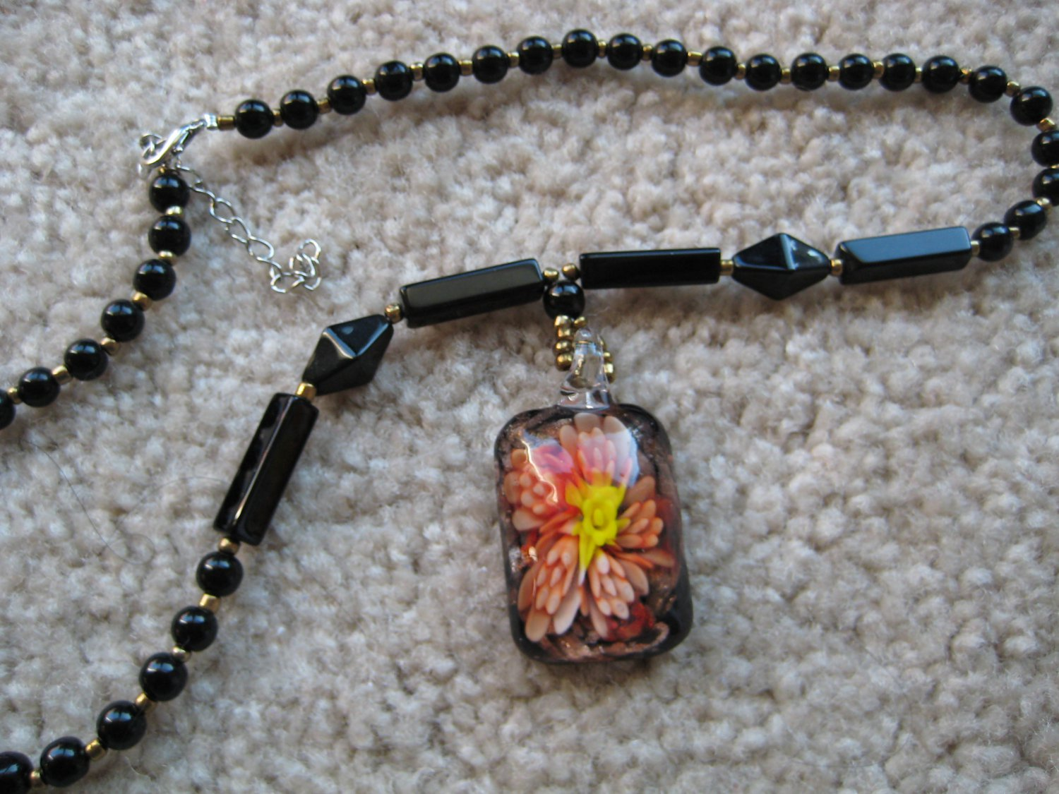 Tropical flower Lampwork Glass Pendant Necklace C