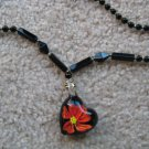 Tropical flower Lampwork Glass Pendant Necklace E