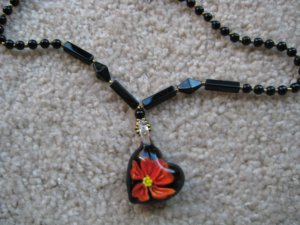 Tropical flower Lampwork Glass Pendant Necklace E