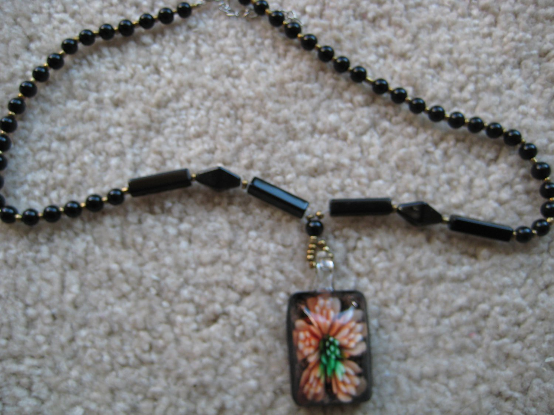 Tropical flower Lampwork Glass Pendant Necklace F