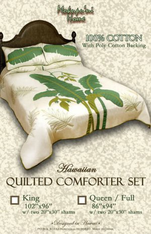 Queen size Hawaiian Quilted Comforter Set with 2 Pillow Shams 100% Cotton Quilt