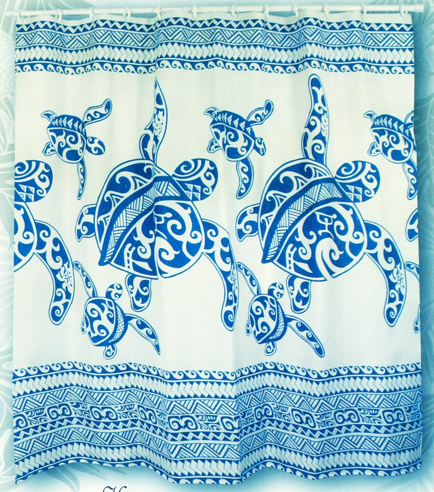 Sea Kitchen Curtains Amazon: Hawaiian Tropical Fabric Shower Curtain ( Honu Turtle