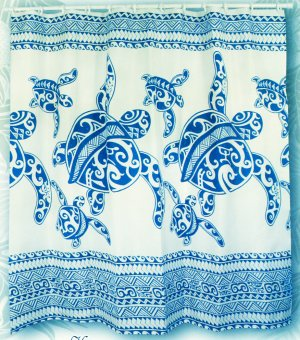 Hawaiian Tropical Fabric Shower Curtain ( Honu Turtle Family, Navy Blue)