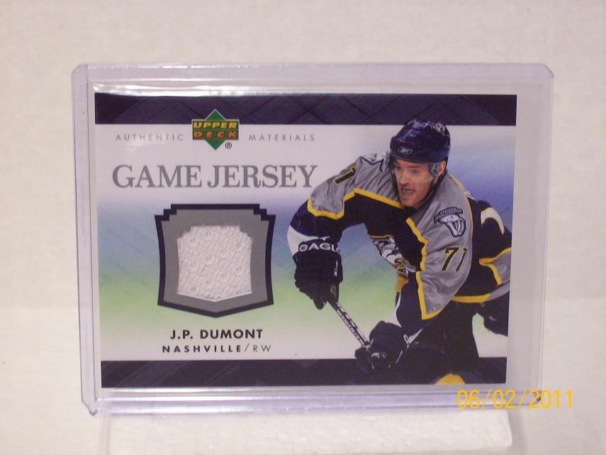 2007-08 Upper Deck Hockey Series 1 - Game Jersey #J-JD - J.P. Dumont