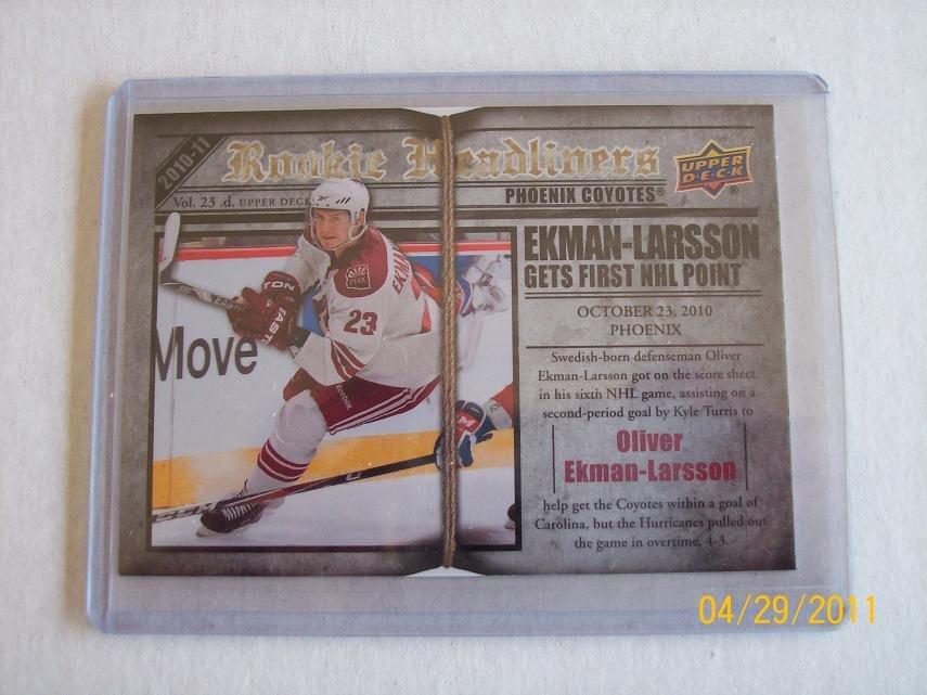 2010-11 Upper Deck Hockey Series 2 - Rookie Headliners #RH6 - Oliver Ekman-Larsson