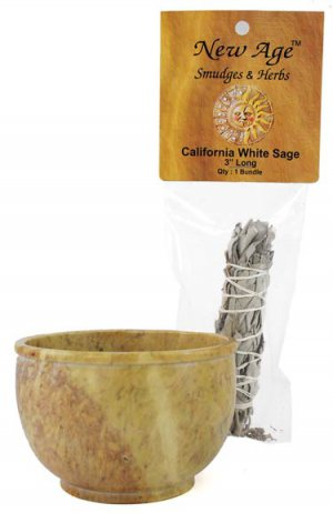 Smudge Pot with Mini White Sage Wand - RST5B