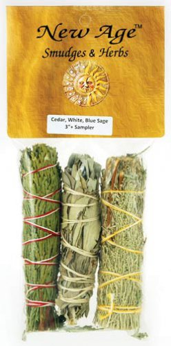 Cedar, White & Blue Sage smudge stick 3-Pack - RS3BWC
