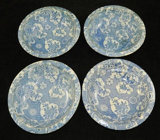 4 Oriental porcelain blue decorated bowls