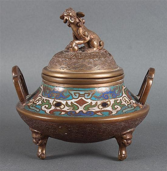 Chinese brass and champleve enamel censer