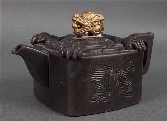 Chinese brown earthenware miniature teapot