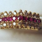 Diamonds 0.25ct Ruby Gemstones 2.25mm each 14K Yellow Gold Ring