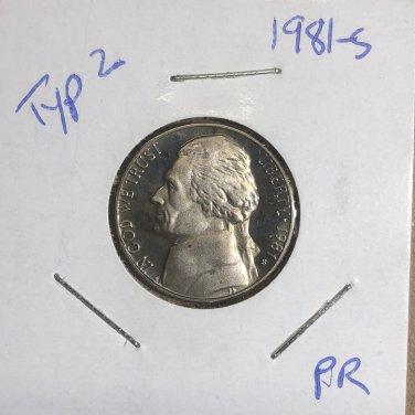 1981-S Jefferson Nickel Proof, Type 2, #2645