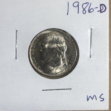 1986-D Jefferson Nickel, #3309