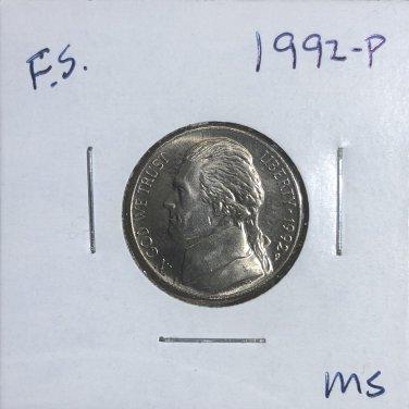1992-P Jefferson Nickel, #3319