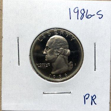 1986-S Proof Washington Quarter #3265