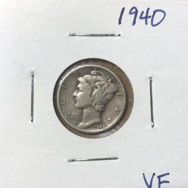 1940  Mercury Dime, #3663