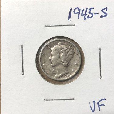 1945-S  Mercury Dime, #3673