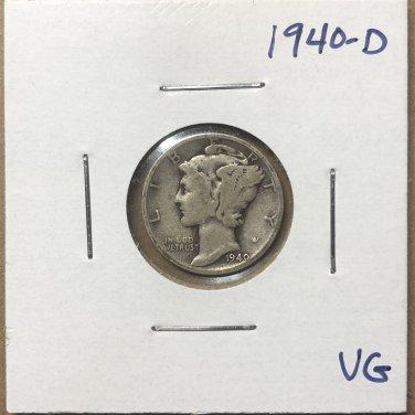 1940-D  Mercury Dime, #3677