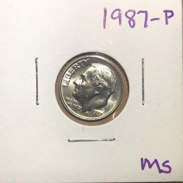 1987-P Roosevelt Dime, #3750