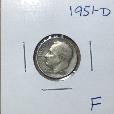 1951-D Roosevelt Silver Dime, #3132
