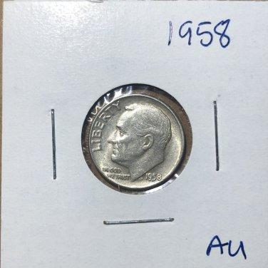 1958 Roosevelt Silver Dime, #3127