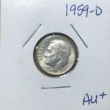 1959-D Roosevelt Silver Dime, #3128
