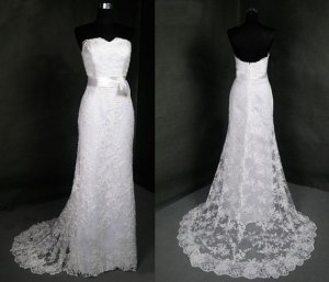 Simple A line Lace Bridal Dress