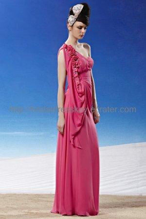 One Shoulder Hot Pink Evening Dress 2012